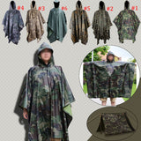 Multifunction Military Waterproof Camo Raincoat Rain Coat Men Women Raining Poncho for Camping Fishing Motorcycle LS - On Trends Avenue