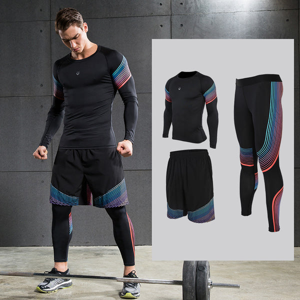 Men's Running Sets Sportswear Compression Leggings Pants Shirts with Shorts for Running Joggers Gym Fitness Ball games - On Trends Avenue