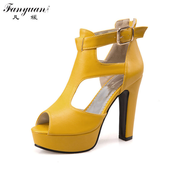 Fanyuan Elegant Gladiator Sandals Women Shoes 2017 Summer Back Zip Platform Shoes Lady Buckle Party Open Toe Sandals Plus Size - On Trends Avenue