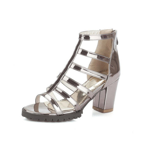HEE GRAND Silver Gladiator Sandals Summer High Heels Platform Shoes Woman Slip On Pumps Casual Women Shoes Size 35-43 XWZ3370 - On Trends Avenue