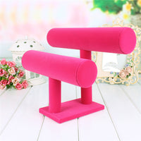 2 Tiers T-Bar Velvet Bangle Bracelet Watch Holder Jewelry Display Stand pole Hot pink displaying bar ping - On Trends Avenue