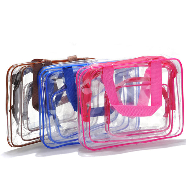 3pcs Set Women Transparent Clear Brand Makeup Case Toiletry Bag Cosmetic Bag Organizer Cosmetic Case Bag in Bag Cosmetic Pouch - On Trends Avenue