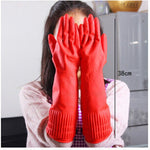 Red Kitchen Wash Dishes Cleaning Waterproof Long Sleeve Rubber Latex Gloves Tool - On Trends Avenue