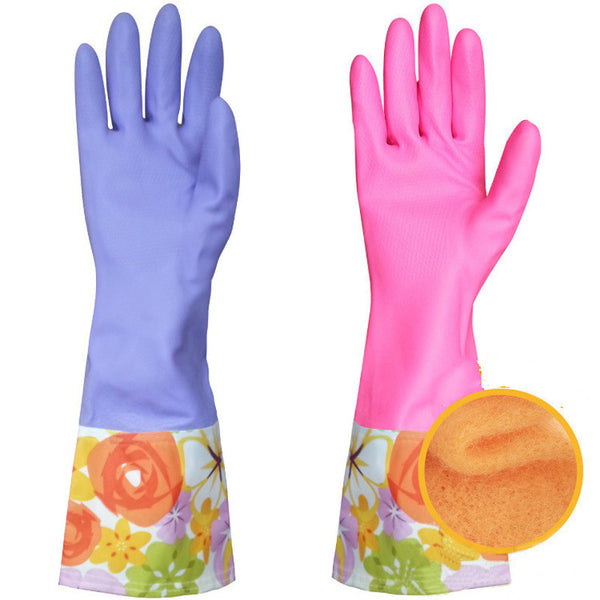 Rubber latex dish washing cleaning long gloves household kitchen car keep warm glove - On Trends Avenue