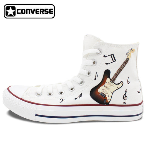 Men Women Converse Chuck Taylor Guitar Musical Note Original Design Hand Painted Shoes High Top Woman Man Sneakers White