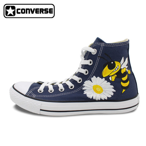 Blue Converse Chuck Taylor Men Women Shoes Custom Georgia Tech Wasp Bee Flower Design High Top Canvas Sneakers Christmas Gifts