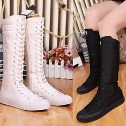 New Fashion Lady Women Boots Canvas Lace Up Zip Knee High Boots Women motorcycle boots Flat Casual Tall Punk Shoes woman - On Trends Avenue