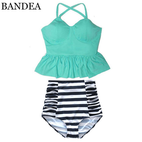 BANDEA High Waist Swimsuit New Bikinis Women Push Up Bikini Set Swimwear Female Halter Beach Wear Bathing Suits Dress - On Trends Avenue