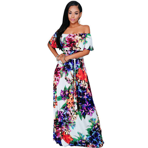 Boho Maxi Dress Floral Print Off shoulder Floor-Length - On Trends Avenue