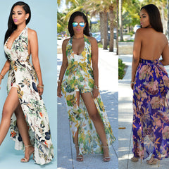 Sexy Backless Floral Halter dress with shorts - On Trends Avenue