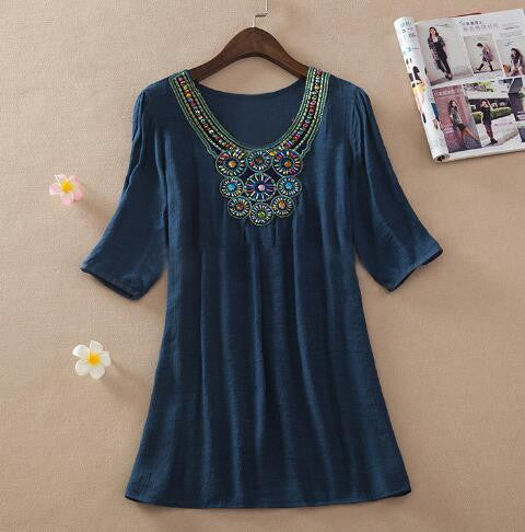 Summer Dress Plus Size Women Clothing Half Sleeve Bohemian Dress Womens Handmade Embroidery Vintage Dresses Vestodps - On Trends Avenue