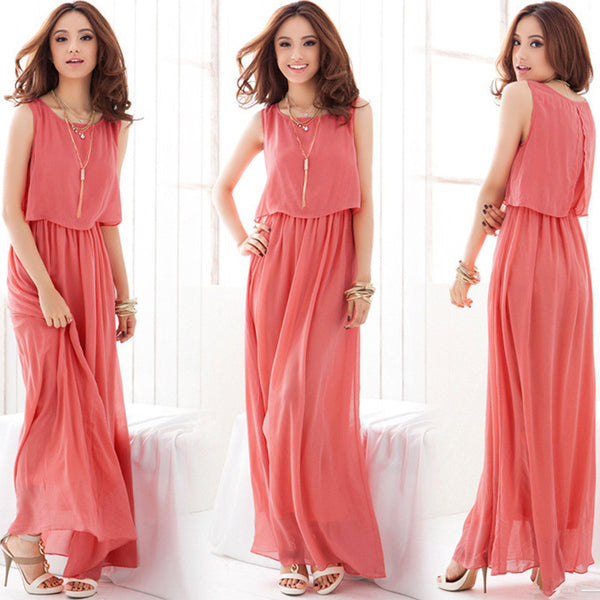 Bohemian Summer Women Chiffon Beach Dress for Holiday O neck Sleeveless Long Maxi Dress Elegant Casual Pleated Maxi Dress - On Trends Avenue