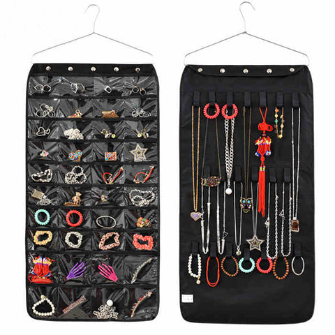 Double Sided 40 Pockets Hanging Jewelry Organizer Bracelet Earring Ring necklace Holder Hang Hook Bag New