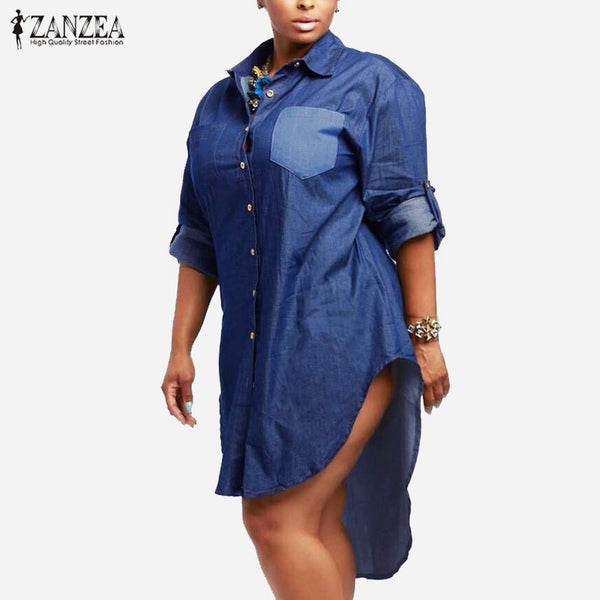 Dress ZANZEA Women Vintage Denim Dress Lapel Long Sleeve Irregular Hem Long Tops Jeans Shirts Oversized Vestidos - On Trends Avenue