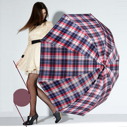 British style Oversized Lattice Fold Anti-UV Sun/Rain umbrella rain women/men Stick Outdoor Umbrella brand Manual Big Parasol - On Trends Avenue