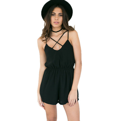Cross Front Sleeveless Backless Summer Rompers - On Trends Avenue