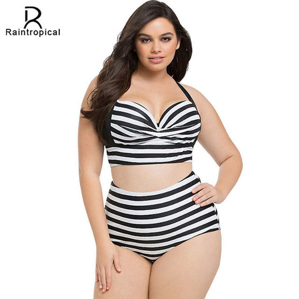 5840631df09 New Bikinis High Waist Swimsuit Women Plus Size Swimwear Large Size Print  Vintage Retro Plaid Beach