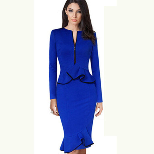 new 2017 Summer fashion style women pack hip dress blue Zipper O-neck long sleeves Ruffles Sexy Casual plus size pencil Dresses - On Trends Avenue