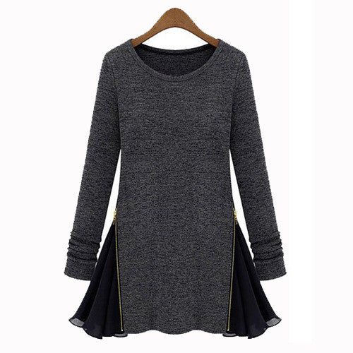 and autumn and winter 2017 European and American fashion knitted dresses, retro side zipper dress, brand clothing size XL Autumn - On Trends Avenue