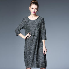 Women Clothing Loose Dress Femme Fashion Plus Size Dark Gray Long Sleeve Sexy Party Dresses Women European American - On Trends Avenue