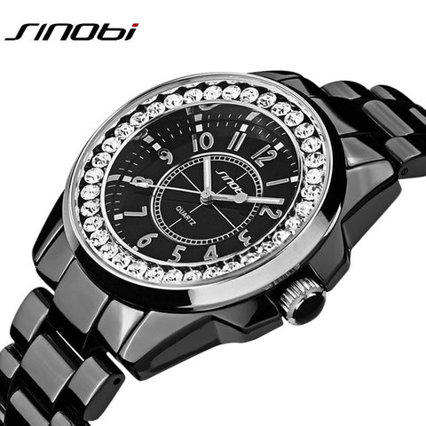 Bling Rhinestone SINOBI Luxury Steel Quartz Watch Women Clock Female Ladies Dress Wristwatch Gift Silver Gold Relojes Mujer - On Trends Avenue