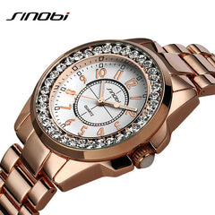 Bling Rhinestone SINOBI Luxury Steel Quartz Watch Women Clock Female Ladies Dress Wristwatch Gift Silver Gold Relojes Mujer