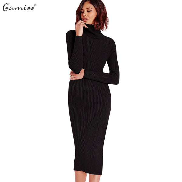Gamiss Women Autumn Winter Sweater Knitted Dresses Slim Elastic Turtleneck Long Sleeve Sexy Lady Bodycon Robe Dresses Vestidos - On Trends Avenue