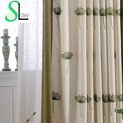 Flower Embroidered Fabric Window Curtain  Blackout Curtains for Living Room