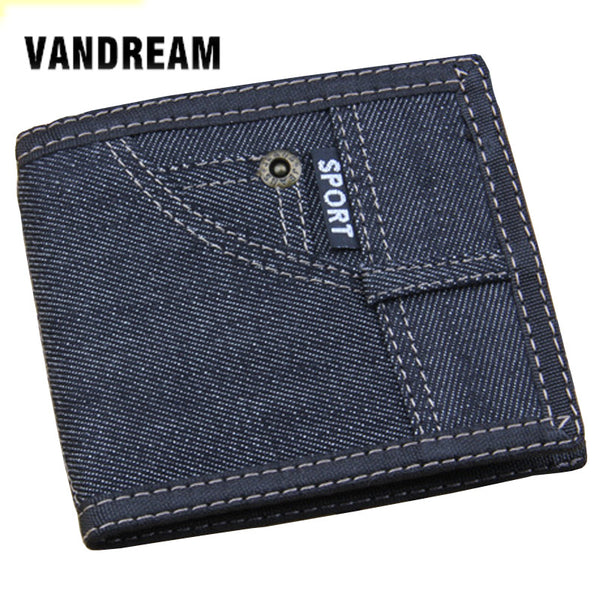 New Retro Man Canvas Wallets Male Purse Fashion Card Holders Small Zipper Wallet New Designed Denim Pockets Purse For Male - On Trends Avenue