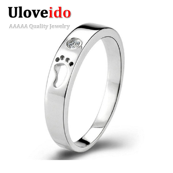 Silver Toe Rings for Women / Men Bijoux Sale Silver Engagement ring Ring Love Crystal Jewelry Bague Aneis Uloveido J013 - On Trends Avenue