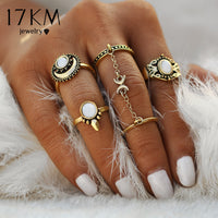 17KM 5pcs/Set Boho Beach Flower Tibetan Moon And Sun Midi ring Sets for Women Knuckle Siamese Chain Mittens Rings Gift - On Trends Avenue