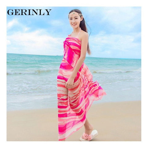 Versatile muiltiple wasy to wear Pareo Scarf Women's 150*180cm Long Striped Rainbow Print Chiffon Sarongs - On Trends Avenue