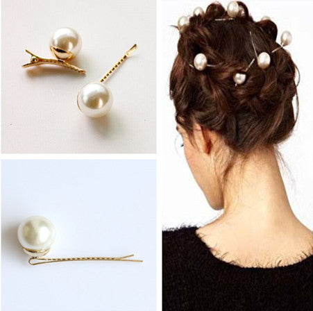 2 Pcs/ Pair Faux Pearl Spiral Barrette Spin Screw Hairpin Hair Clip Grips for Wedding Hair Accessories - On Trends Avenue