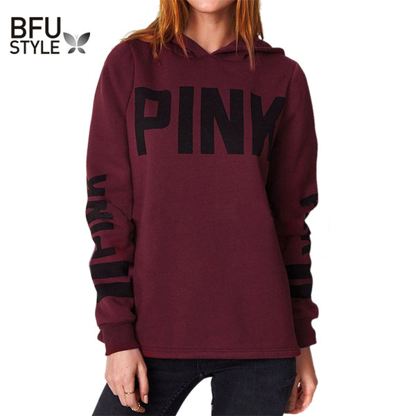2017 New Arrival Hip Hop Women Hoodie Pink Letter Print Sweatshirt Casual Long Sleeve Pullovers Polerones Mujer Harajuku Tops - On Trends Avenue