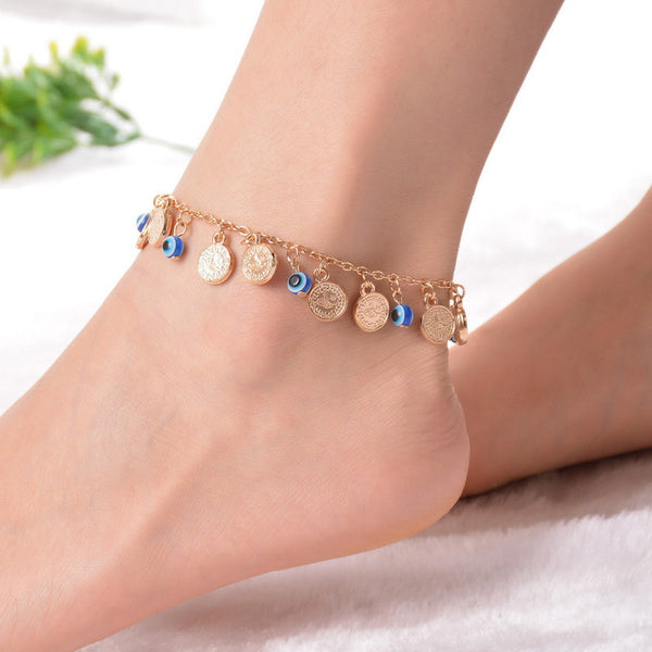 1PC Bohemian Evil Eye Coin Charms Anklet Beach Barefoot Sandals Foot Anklet Women Summer Jewellery - On Trends Avenue