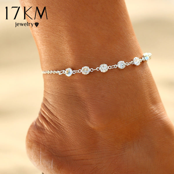 17KM Vintage Fashion Imitation Pearl Crystal Anklets For Women Stainless Steel Shoe Boot Chain Bracelet Foot Jewelry 2017 - On Trends Avenue