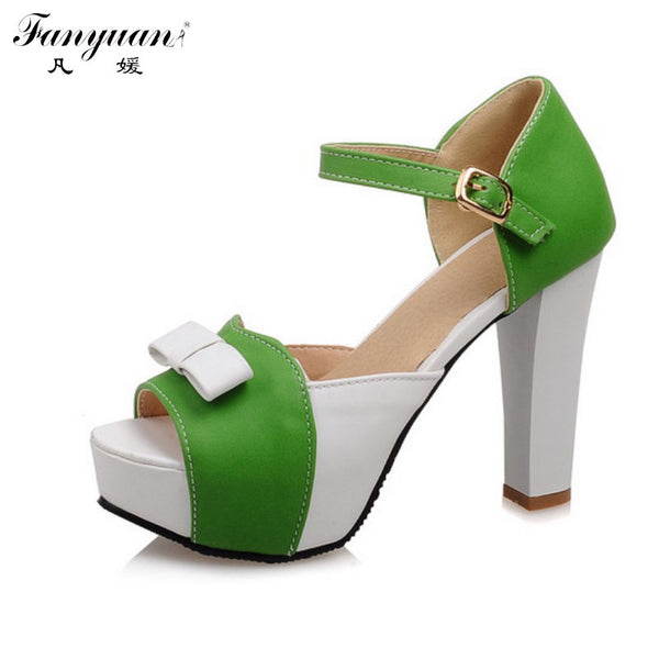 Fanyuan Sweet Shoes Women Sandals Mixed Colors Thick Platform Thin High Heels Bow Ankle Strap Female 2017 Plus Size Green Shoes - On Trends Avenue