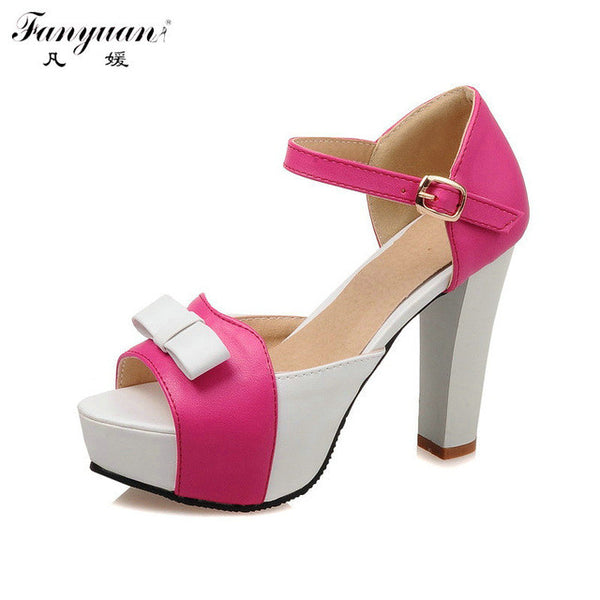 0969666afe1 ... Fanyuan Sweet Shoes Women Sandals Mixed Colors Thick Platform Thin High  Heels Bow Ankle Strap Female ...