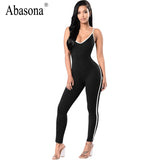 Abasona Sleeveless backless sexy bodycon jumpsuit Summer black white stripe overalls V neck straps womens rompers sportsuit - On Trends Avenue