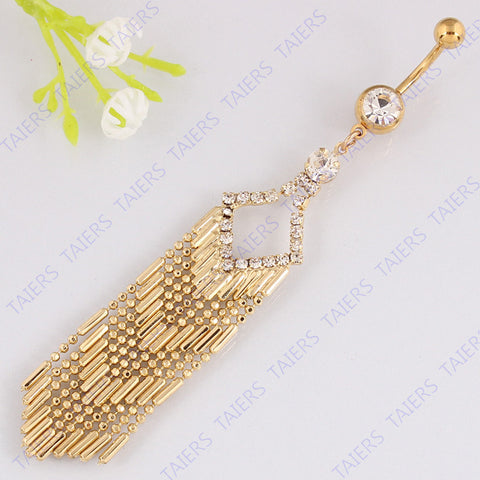 Belly button ring body piercing navel bar Claw chain tassel navel ring 14G 316L surgical steel TAIERS - On Trends Avenue