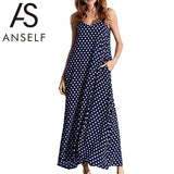 Anself 2017 Fashion Women's Polka Dots Maxi Dress Long Casual Summer Beach Chiffon Party Dresses Robe Sexy Boho Dress Vestidos - On Trends Avenue