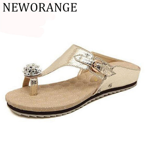 Soft Leather Women Sandals Big Rhinestone Flip Flops 6 Colors Message Insole Comfort Summer Shoes Women WSS22 - On Trends Avenue
