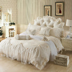 Luxury Jacquard Silk princess bedding sets queen king 4/6pcs Beige Lace Ruffles duvet cover bedspread bed skirt bedclothes