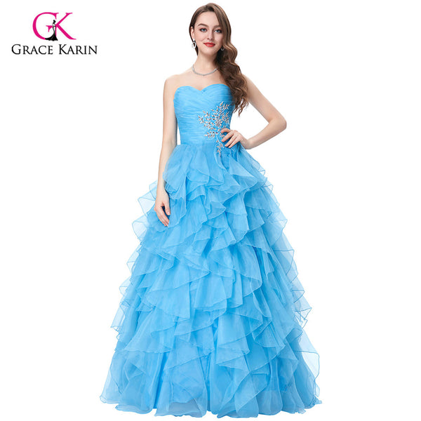 Grace Karin Strapless Blue fuchsia Yellow Quinceanera Dresses 2017 cheap Long Ball debutante Gowns Organza sweet 16 Dresses - On Trends Avenue