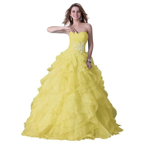 Grace Karin Strapless Blue fuchsia Yellow Quinceanera Dresses 2017 ...