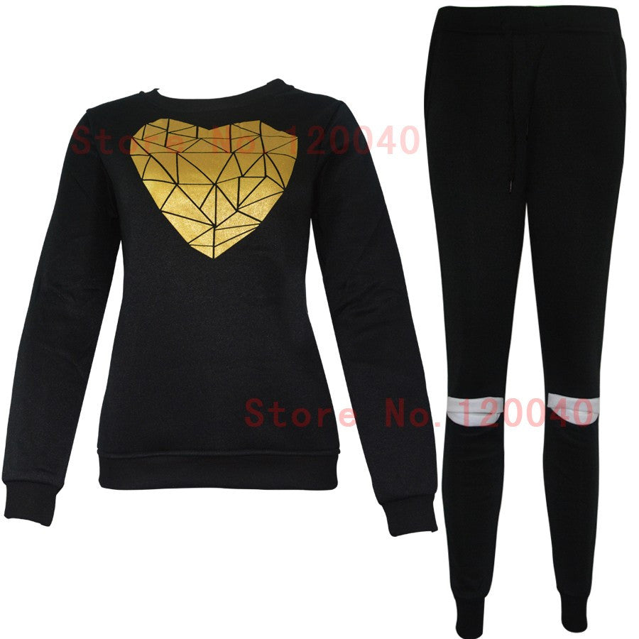 Hot Gold Heart Hollow Out Lady Tracksuit Women Hoodies Sweatshirt +Pant Sportwear Costumes Track suit 2 Piece Set - On Trends Avenue