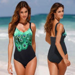 2017 Hot Lady Swimsuit Plus size One Piece Bathing Suit Peacock Print Straps Swimwear New Arrival Swimsuit - On Trends Avenue