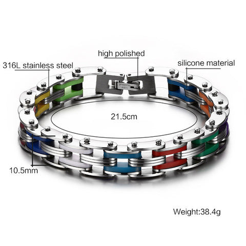 Vnox Masculine Mens Bike Chain Bracelet Stainless Steel Motorcycle Link Chain Bicycle Chain Silicone Bangles - On Trends Avenue