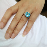 2017 Rings For Women Silver Plated Engagement Big Blue Crystal Stone Zircon Ring Women Wedding Bridal Bague Size 6 7 8 9 10 - On Trends Avenue