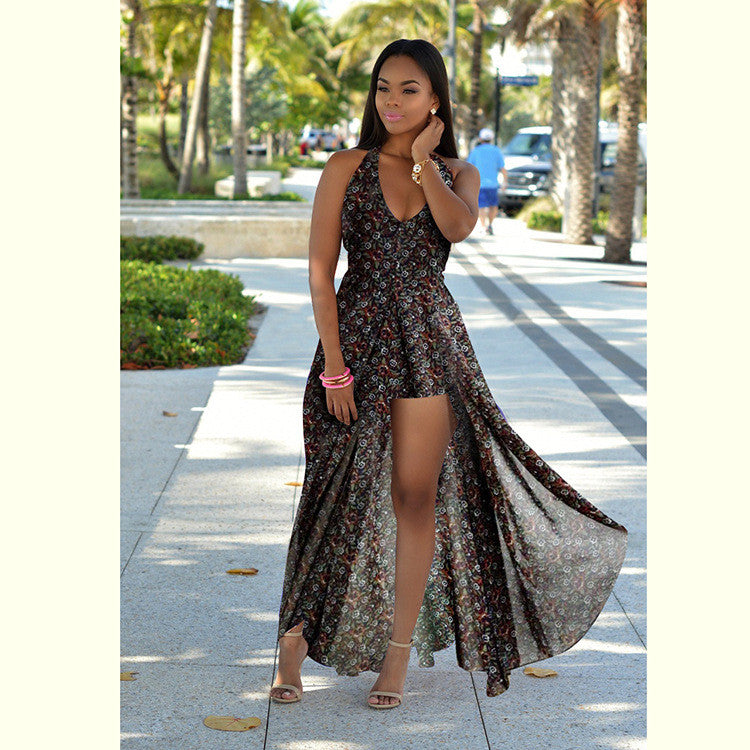 Backless Beach Summer Long Chiffon Maxi Dress with shorts - On Trends Avenue